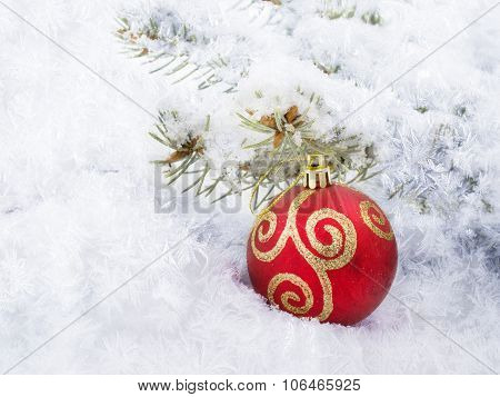 Christmas Red Ball Lie In The Snow