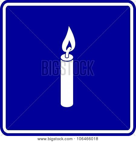 lighted candle sign
