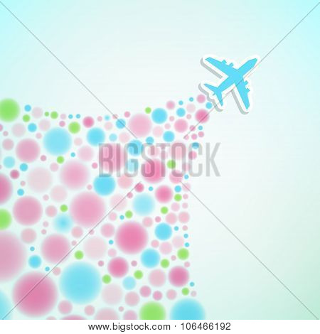 Vector Background With Airplane And Colorful Jet.