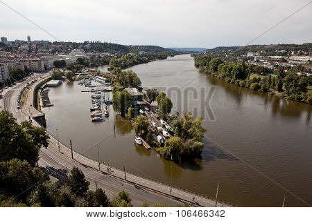 PRAGUE, CZECH REPUBLIC-SEPTEMBER 05, 2015: Photo of  View of the Vltava River.