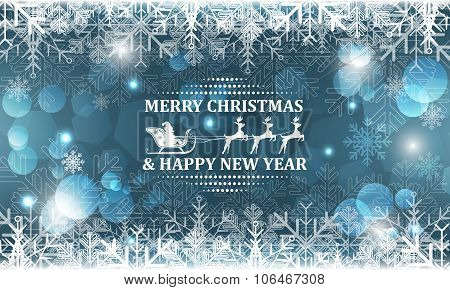 Abstract Christmas vector background with snowflakes shiny effect glitter and bubbles.