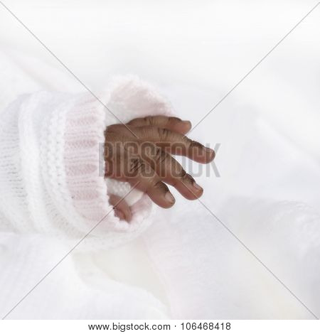 Hand of an one-month-old baby girl