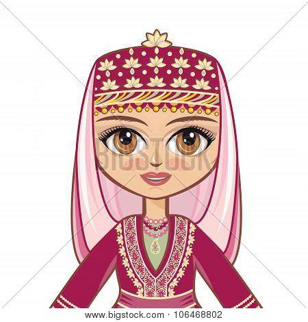 The girl in the Azerbaijanian suit. Portrait, avatar