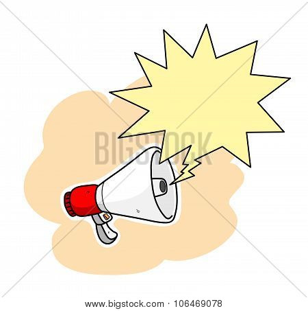 Megaphone With Blank Text Bubble