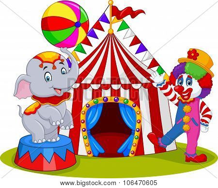 Circus elephant and clown with carnival background