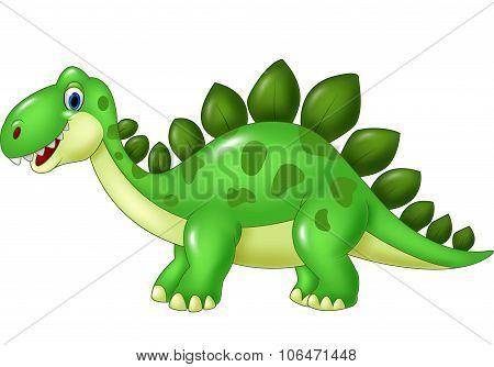 Cartoon funny Stegosaurus mascot isolated on white background