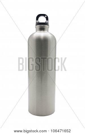 Stainless Steel Bottle On White Background