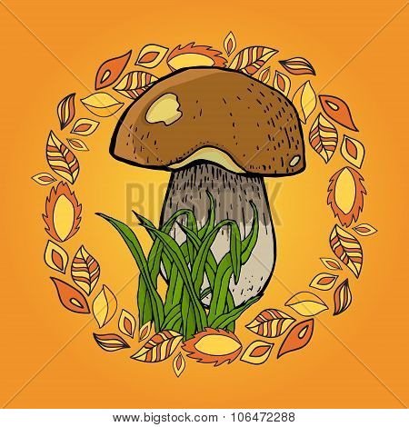 Autum Picture With Mushroom, Grass And Leafs.