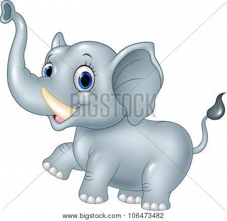 Cartoon funny baby elephant isolated on white background