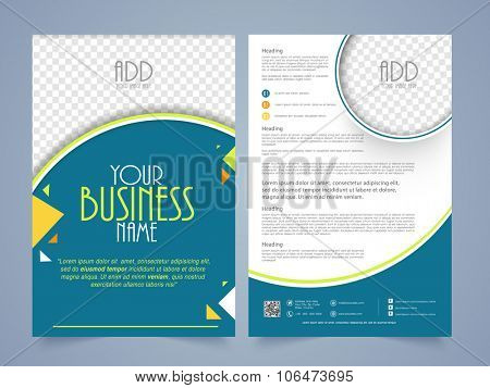 Front and back page presentation of creative flyer, banner or template design with space to add image for your Business.