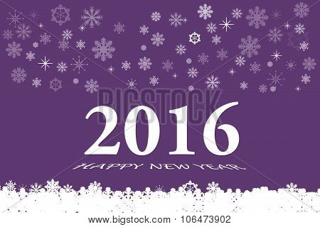 Happy New Year Card In Purple Color