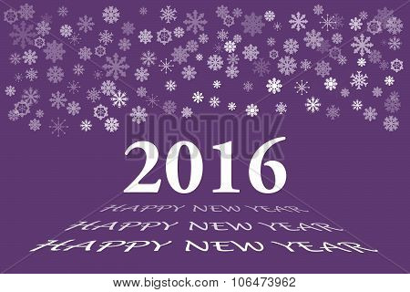 New Year Card With Number 2016