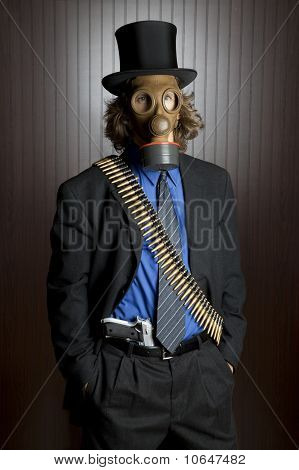Man with gas mask and gun