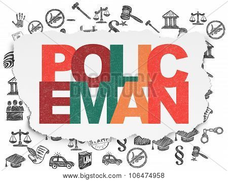 Law concept: Policeman on Torn Paper background