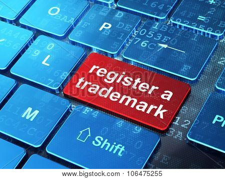 Law concept: Register A Trademark on computer keyboard background