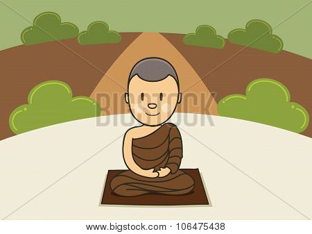 Meditation Monk In Forest