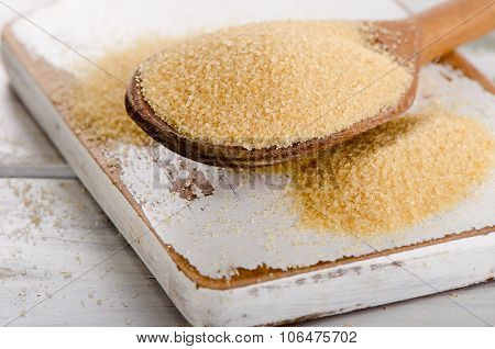 Cane Sugar With Stevia In A Old Wooden Spoon.