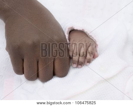Hand of an one-month-old baby girl, hand of her father