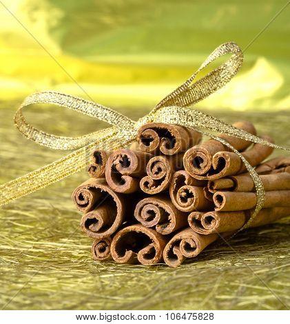 tied with ribbon bunch cinnamon sticks