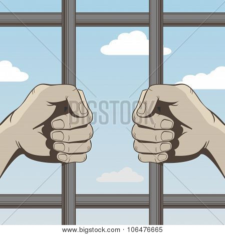 Hands Person Behind Bars