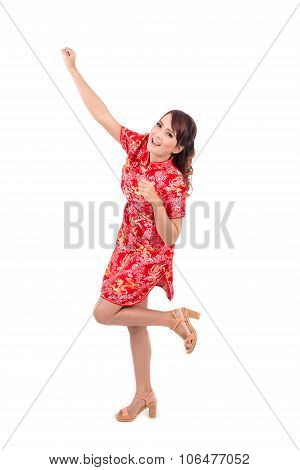 Asian Chinese Girl Greeting In Traditional Chinese , Chinese New Year, Enjoy