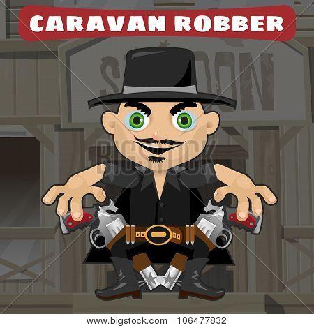 Cartoon character in Wild West - caravan robber