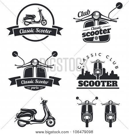 Set Of Classic Scooter Emblems, Icons And Badges.
