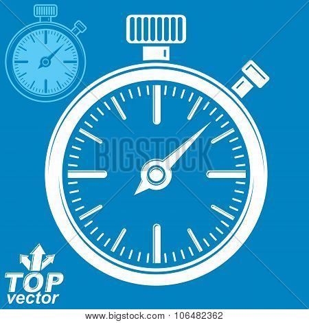 Vector Classic Stopwatch, Includes Invert Version. Eps 8 Highly Detailed Vector Illustration. Pocket