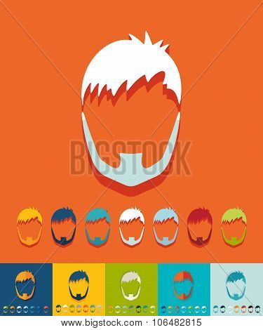 Flat design. hairstyle and beard