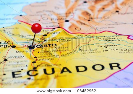 Quito pinned on a map of America