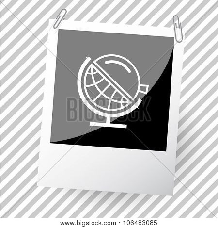 globe and loupe. Photoframe. Vector icon.
