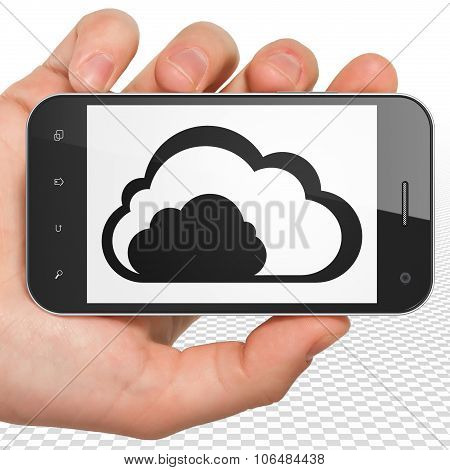 Cloud technology concept: Hand Holding Smartphone with Cloud on display