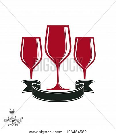 Bright Classic Vector Goblets Set With Creative Red Ribbon, Party And Celebration Theme Illustration