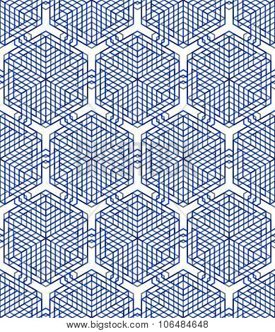 Colored Abstract Interweave Geometric Seamless Pattern, Eps10. Bright Illusory Backdrop With Three-d