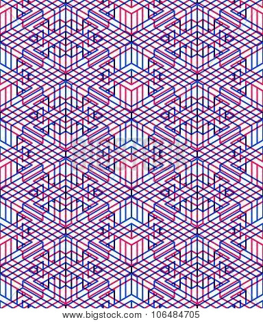 Endless Colorful Symmetric Pattern, Graphic Design. Geometric Intertwine Optical Composition
