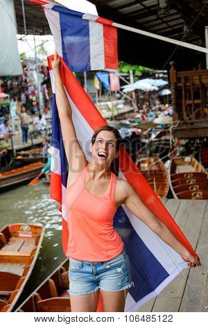Woman With Thailand Flag At Bangkok Floating Market