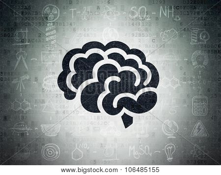 Science concept: Brain on Digital Paper background