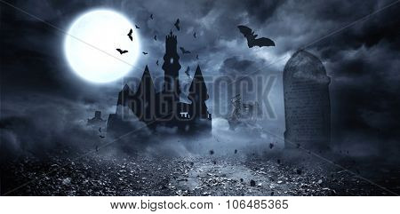 Digitally generated Bats flying to draculas castle