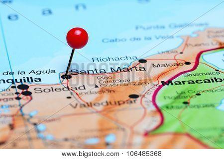 Santa Marta pinned on a map of America