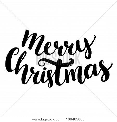 Merry christmas text. Brush calligraphy type, vector lettering isolated on white background.