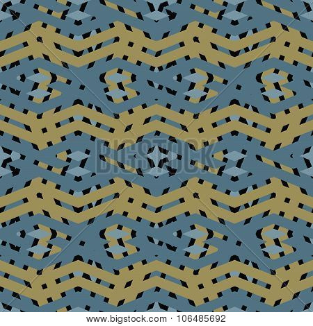 Colorful Geometric Visual Wavy Seamless Pattern, Symmetric Endless Vector Background. Abstract