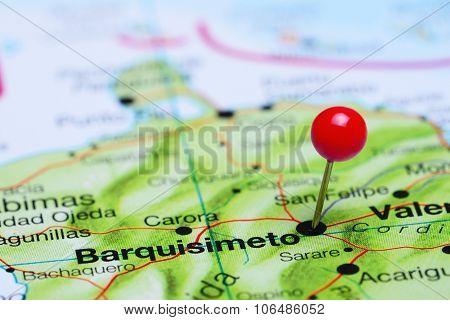 Barquisimeto pinned on a map of America