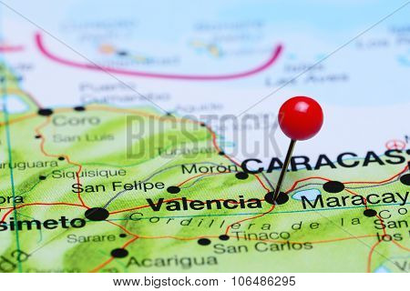 Valencia pinned on a map of America