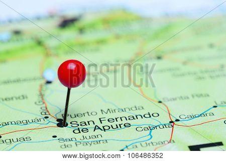San Fernando de Apure pinned on a map of America