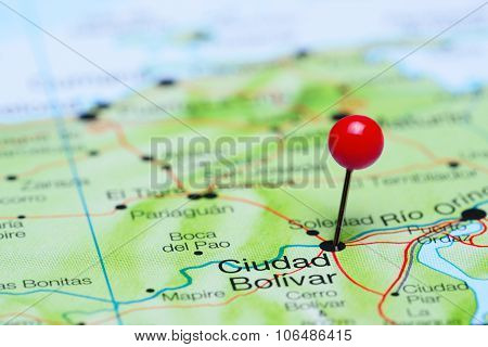 Ciudad Bolivar pinned on a map of America
