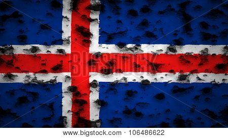 Flag of Iceland, Icelandic flag painted on wall with bullet holes