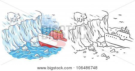 Icebreaker Meets A Polar Bear In The Arctic, Both Colored And Black And White