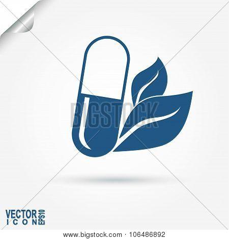 Capsule eco medicament - vector illustration