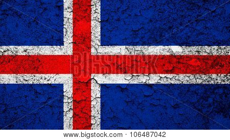 Flag of Iceland, Icelandic flag painted on cracked paint texture