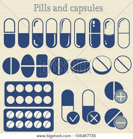 capsules and pill icon set